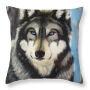 Adult Grey Wolf Throw Pillow by David Hawkes