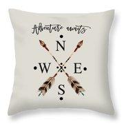 Adventure Waits Typography Arrows Compass Cardinal Directions Throw Pillow