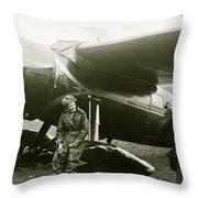 Amelia Earhardt, Ireland, Solo Atlantic Crossing, May 21st, 1932 Throw Pillow