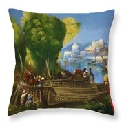 Aeneas And Achates On The Libyan Coast 1520 Throw Pillow