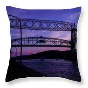 Aerial Lift Bridge At Sundown Throw Pillow