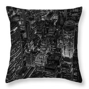 Aerial New York City Skyscrapers Bw Throw Pillow