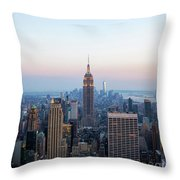 Aerial Night View Of Manhattan Skyline In New York Throw Pillow