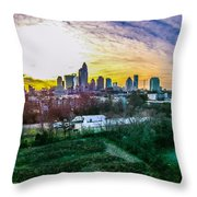 Aerial Of Charlotte North Carolina Skyline Throw Pillow