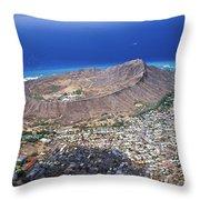 Aerial Of Diamond Head Throw Pillow