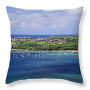 aerial of  Hanalei Bay and Princeville Resort Throw Pillow
