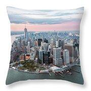 Aerial Of Lower Manhattan Peninsula At Sunset, New York, Usa Throw Pillow