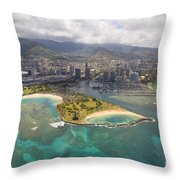 Aerial Of Magic Island Throw Pillow