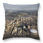 Aerial Of New Orleans Looking East Throw Pillow