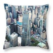 Aerial Of One World Trade Center, New York, Usa Throw Pillow