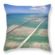 Aerial Of Seven Mile Bridge At Extreme Throw Pillow