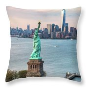 Aerial Of The Statue Of Liberty At Sunset, New York, Usa Throw Pillow