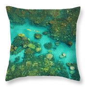 Aerial Of Two Kayakers Throw Pillow