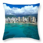 Aerial Of Waikiki Throw Pillow