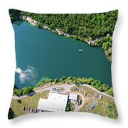 Aerial Over Blue Stone Quarry In North Carolina Throw Pillow