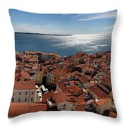 Aerial Panorama Of Piran Slovenia On Adriatic Sea With Marina An Throw Pillow
