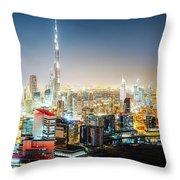 Aerial Panorama View Of Dubai By Night Throw Pillow