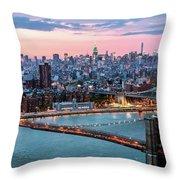 Aerial Panoramic Of Midtown Manhattan At Dusk, New York City, Us Throw Pillow