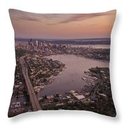 Aerial Seattle View Along Interstate 5 Throw Pillow