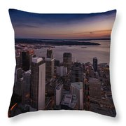 Aerial Seattle Westward View Throw Pillow