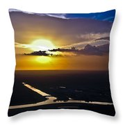 Aerial Sunset Over Canal Throw Pillow