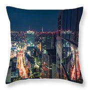 Aerial View Cityscape At Night In Tokyo Japan From A Skyscraper Throw Pillow