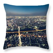 Aerial View Cityscape At Night Throw Pillow