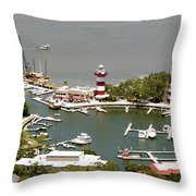 Aerial View Harbour Town Lighthouse In Hilton Head Island Throw Pillow