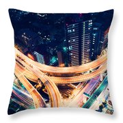 Aerial-view Highway Junction At Night In Tokyo Japan Throw Pillow