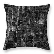 Aerial View Midtown Manhattan Nyc Bw Throw Pillow