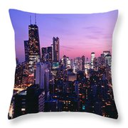 Aerial View Of A City At The Lakeside Throw Pillow