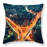 Aerial View Of A Massive Highway Intersection In Tokyo Throw Pillow