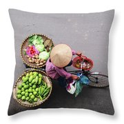 Aerial View Of A Vietnamese Traditional Seller On The Bicycle With Bags Full Of Vegetables Throw Pillow