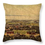 Aerial View Of Berkeley California In 1900 On Worn Distressed Canvas Throw Pillow