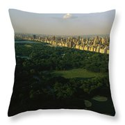 Aerial View Of Central Park, An Oasis Throw Pillow
