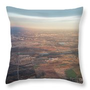 Aerial View Of Downtown Austin From Plane About To Land Throw Pillow