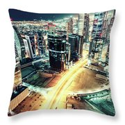 Aerial View Of Dubai's Business Bay At Night. Throw Pillow