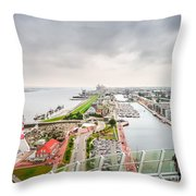 Aerial View Of Famous Havenwelten In Bremerhaven Throw Pillow