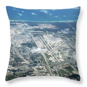 Aerial View Of Fort Lauderdale Airport. Fll Throw Pillow
