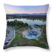 Aerial View Of Lake Balboa Park  Throw Pillow