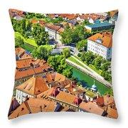 Aerial View Of Ljubljana Green River Throw Pillow