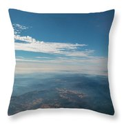 Aerial View Of Mountain Formation With Low Clouds During Daytime Throw Pillow