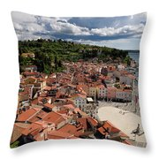 Aerial View Of Piran Slovenia On The Adriatic Sea Coast With Har Throw Pillow