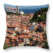 Aerial View Of Piran Slovenia With St George's Cathedral On The  Throw Pillow