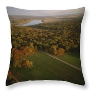 Aerial View Of Shiloh. The Tennessee Throw Pillow by Sam Abell