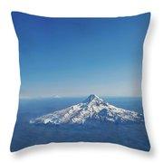 Aerial View Of Snowy Mountain Throw Pillow