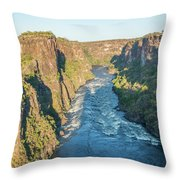 Aerial View Of Sunlit Rapids In Canyon Throw Pillow