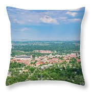 Aerial View Of The Beautiful University Of Colorado Boulder Throw Pillow