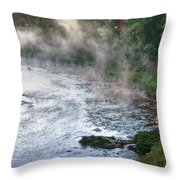 Aerial View Of The Dawn Over The River In The Fog Throw Pillow