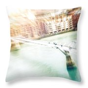 Aerial View Of The Millennium Bridge Throw Pillow